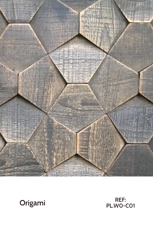 The PL.WO-C01 is a reference of the Origami collection that uses hexagons in unusual tilted shapes to create micro-patterns that rearrange themselves into bigger patterns. A decorative wood panel design for application on walls.