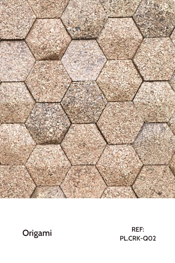 The PL.CRK-Q02 is a design of the Origami Collection that uses cork in different hexagonal shapes to create a mesmerizing and interesting interior. A decorative wood panel design for application on walls, with custom sizing and sustainable characteristics.