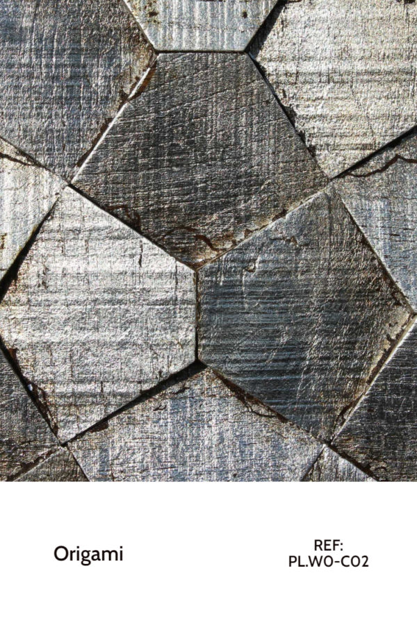 The PL.WO-C02 is a reference of the Origami collection that uses hexagons in unusual tilted shapes to create micro-patterns that rearrange themselves into bigger patterns. A decorative wood panel design for application on walls, with a silver leaf finish.