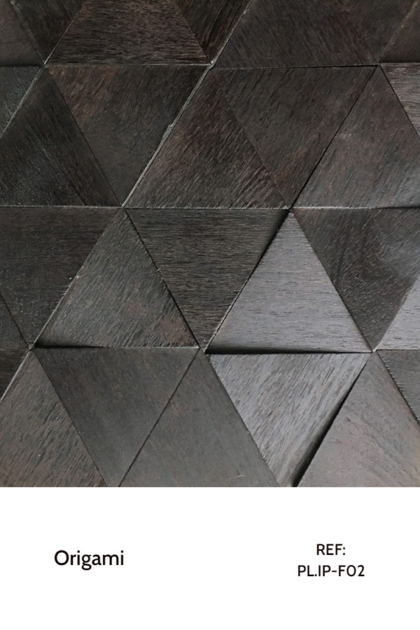 The PL.IP-F02 is a design that uses a dark-coloured veneer and tilted triangles with a geometric effect to design unusual walls in a chiq, modern and classy way. A decorative wood panel design for application on walls and furniture.