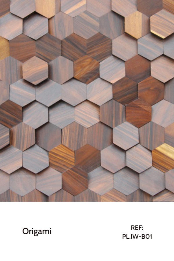The PL_IW_B01 is a reference of the Origami collection. Composed of individual hexagons with a Iron Wood veneer finish, this panel has different heights, creating a sensation of motion between each hexagon. A decorative wood panel design for application on walls.