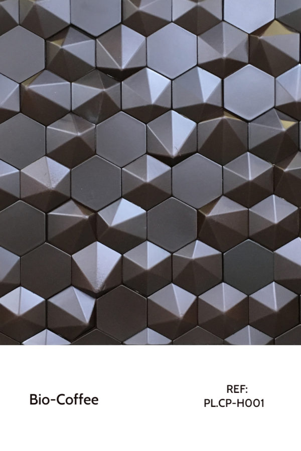 Recycled panels - Coffee panel catalog - hexagonal shapes.
