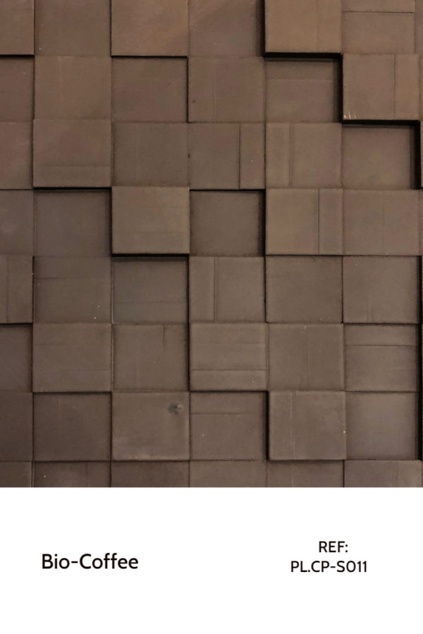 Recycled panels - A surface made purely from coffee grounds squares, which we arranged in a pattern.