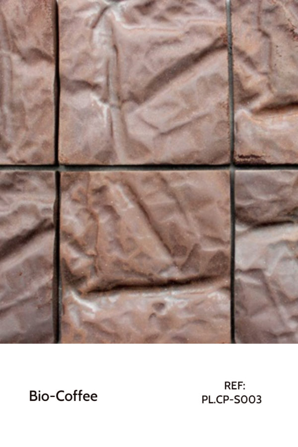 Recycled panels - Pressed coffee pieces.