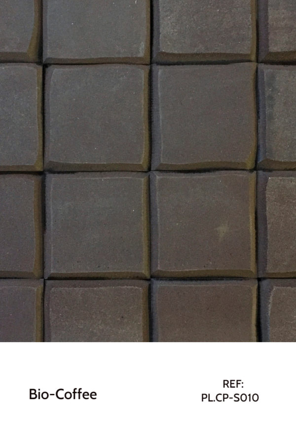 Recycled panels - A surface made purely from coffee grounds. Custom patterns can be machined on top of these squares.