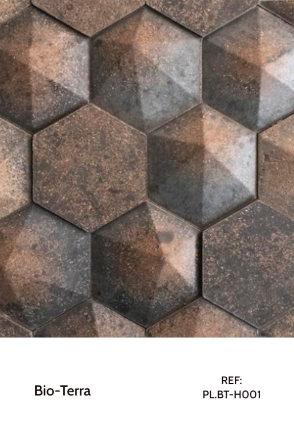 Recycled panels - Recycled Earth panels with an hexagonal shape.