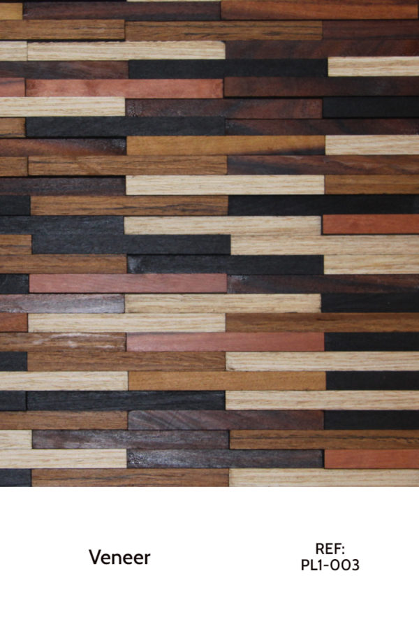 A veneer design that uses multiple veneer, arranged in a horizontal, rectangular layout. Each piece has different colors, some white and some dark brown, and others with colors in between, such as cherry or light browns.