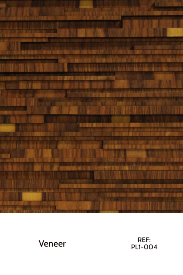A veneer design that uses strips in a horizontal layout with different heights and widths.