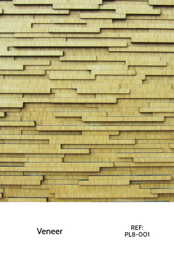 A veneer design that uses similar (but different) veneer strips in a horizontal layout with different heights and widths.