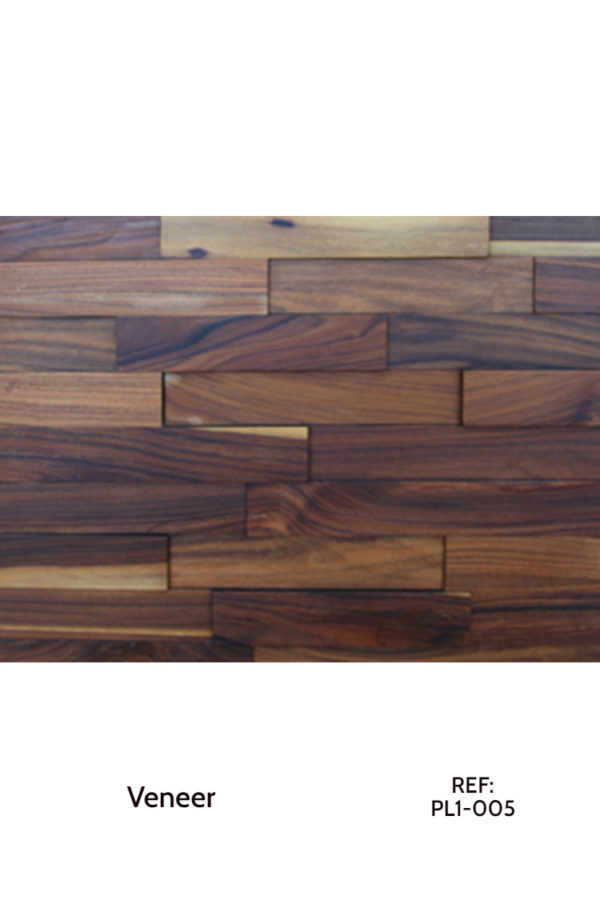 A veneer panel design. In the photo, there is a dark oak-like veneer, divided into small rectangles with different heights and shapes.