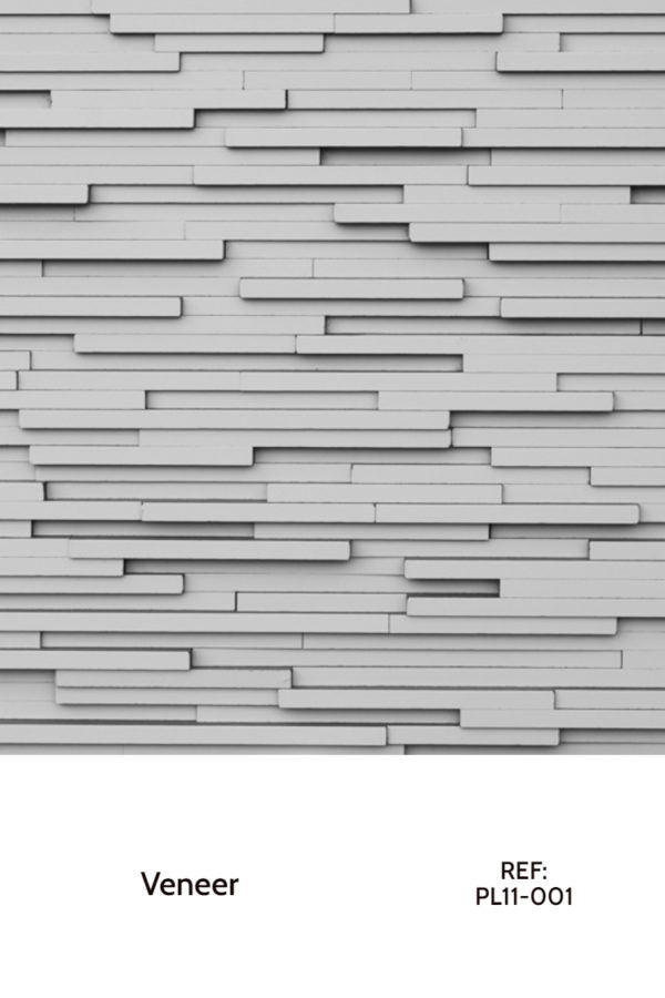 A veneer design that uses white veneer strips in a horizontal layout with different widths.