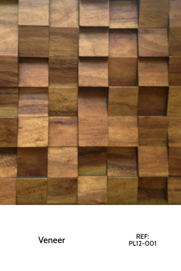 A Veneer panel from the Veneer collection. In the photo, small rectangles with tilted shapes are organized along each other, creating a balanced and contrasting shape that plays with shadows throughout the day. The Veneer covering surface is a medium-brown color.