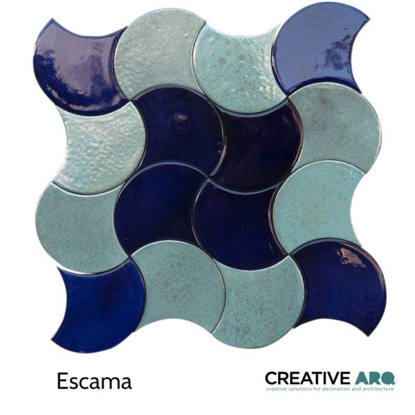 Escama 3d wall tile - a deep and clear blue tile with various directions and repeatable patterns. ESCAMA- um azulejo com tonalidades azuis-claras e escuras com um padrão repetível.