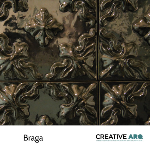 Braga- a ceramic tile with a 3D component, inspired by traditional azulejos found in Braga. Braga- um azulejo cerâmico para paredes e outras superfícies, inspirado em azulejos que se encontram em Braga