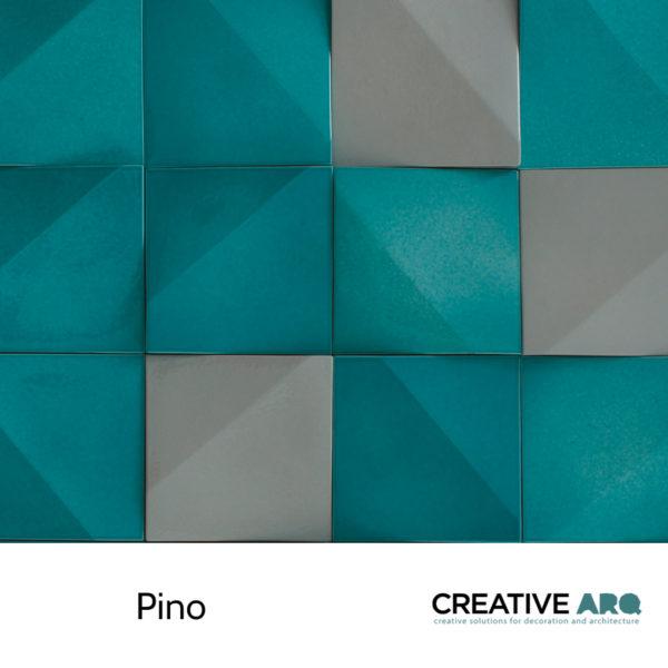 A 3D wall tile design with colorful features and partially handmade in Portugal. Um azulejo tridimensional e feito parcialmente à mão em Portugal.