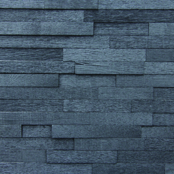 A panel from small, rectangular wood strips that are organized on a horizontal layout. Each piece has a burned, dark look, enhanced by the different shadows.
