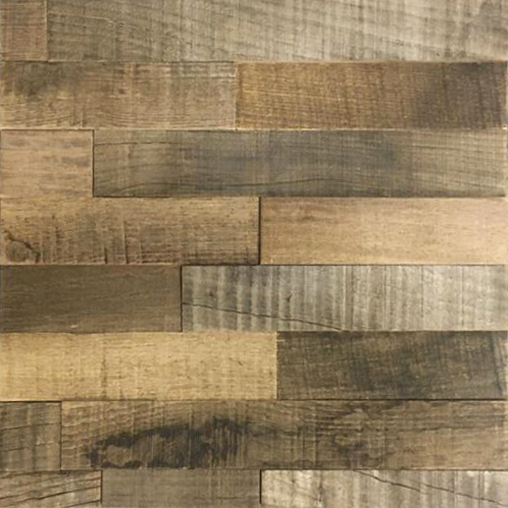 A wood panel, that combines small, rectangular wood strips on a horizontal layout. The wood strips are natural, with some darkened and vintage pieces in a random order.