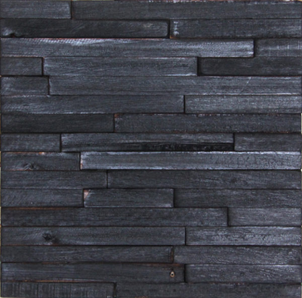 A wood panel that consists of wood strips with a burned look. Each strip is placed horizontally and is slightly different from the others, as some are longer and have different heights.