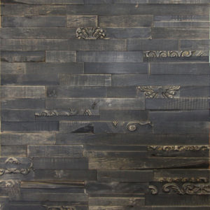 A dark coloured wood panel with horizontally placed wood strips. Each strip is different than the other, as some have a lighter tone and other even have tridimensional, ornamental patterns.