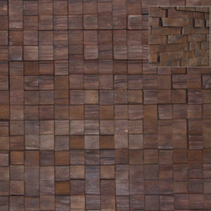 A wood surface made with squares of wood, which are hand applied on a board. Each square has a slightly different height, creating a tactile sensation.