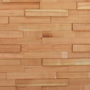 A wood panel with small strips of wood, organized in a horizontal layout. Each piece has a rectangular shape with a natural look and varying heights.