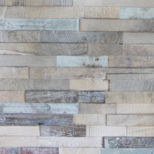 This panel is composed by small, rectangular wood strips, that are joined among other wood strips on a horizontal way. All of the pieces are covered with a patina-like finish, and some pieces are darker than the others.