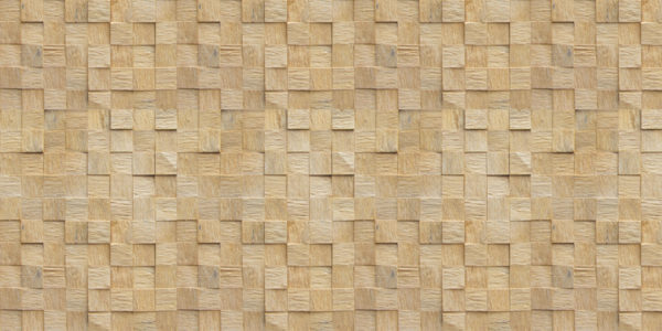 A wall panel that uses wood squares with different characteristics to create a tactile, three dimensional environment.