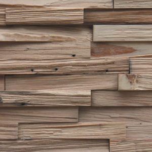 A wood surface ,made from horizontally laid wood strips. Each strip is slightly different than the other, as they all have different heights and shapes, as well as different tones.