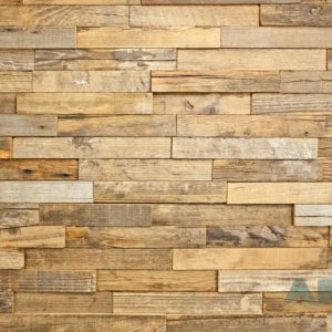 A wood panel, made from horizontally laid wood strips. Each strip is slightly different than the other.