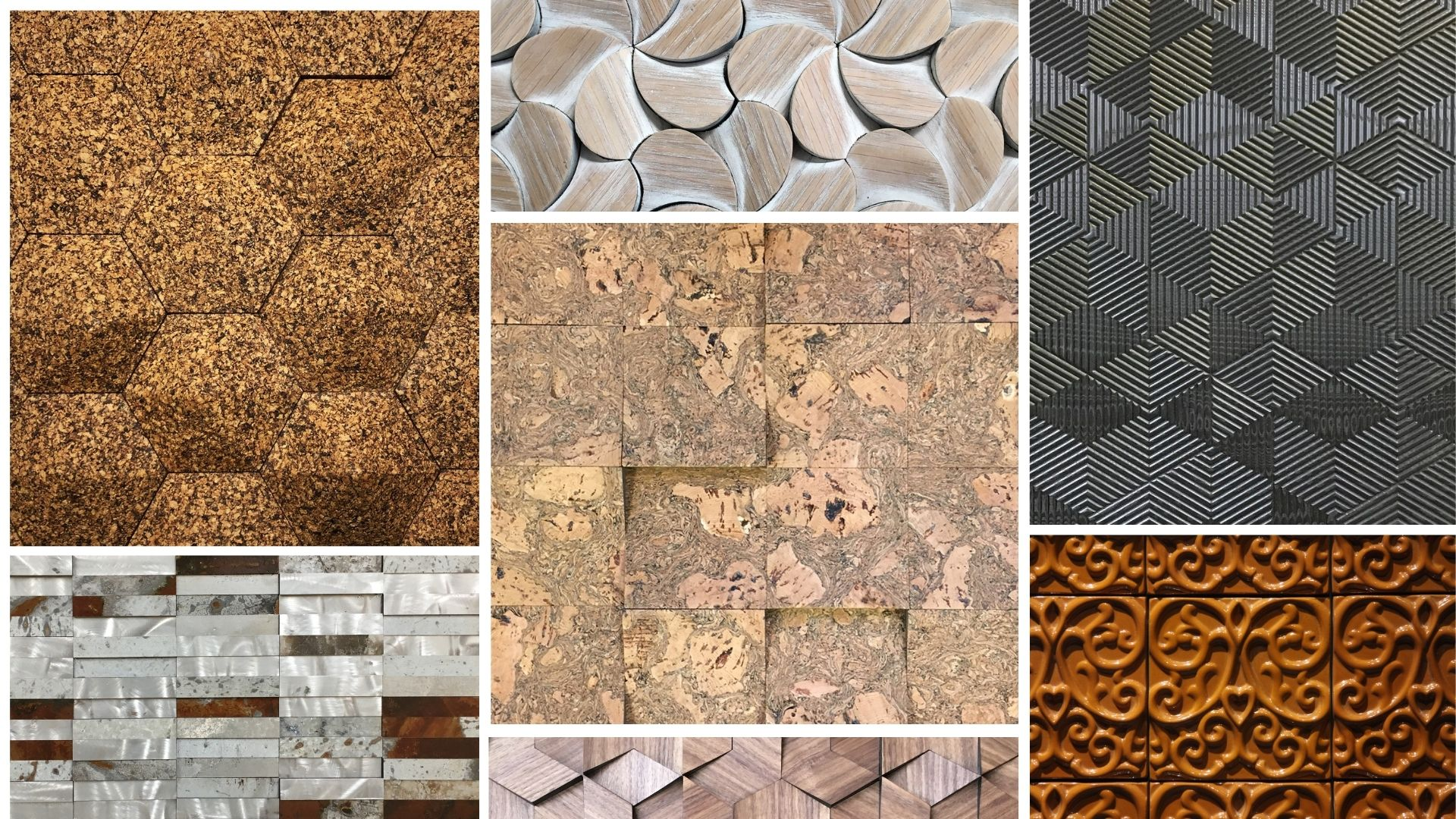 Banner with multiple surfaces: cork, origamis, steel, mini-textures and ceramics